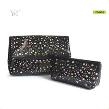 Hollow design customized sublimation PU leather cosmetic set bags