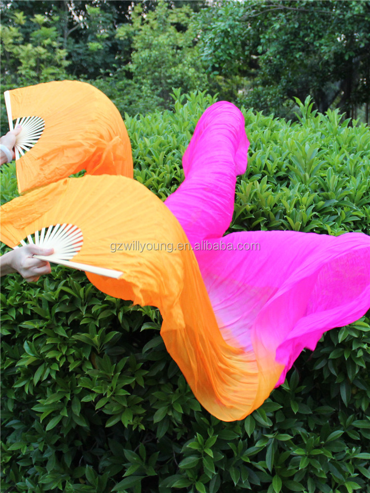 Real Silk New Belly Dance Fans Colors, Belly Dance Silk Fan Veils
