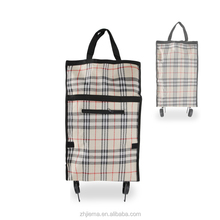 Wholesale small cheap replacement wheeled market home use foldable shopping storage trolley cart folding bags with 2 wheels
