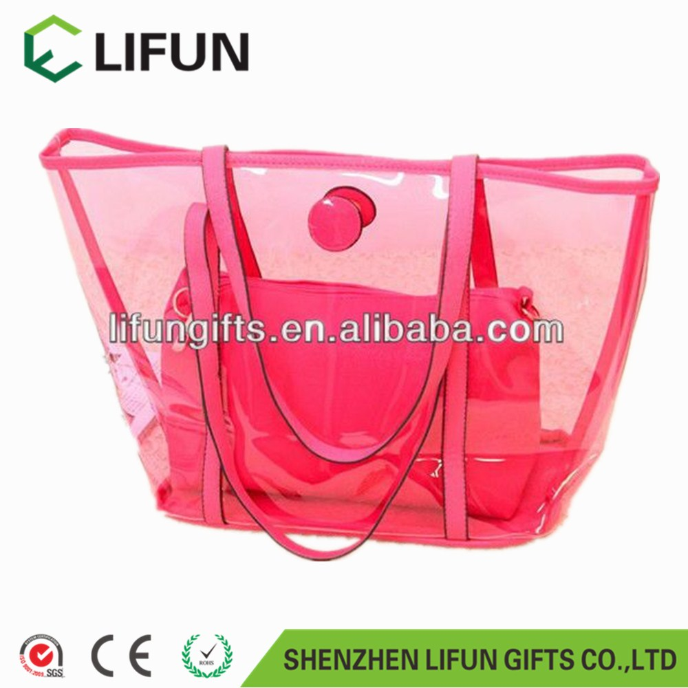 2017 Fashionable clear PVC waterproof beach tote bag for shopping