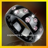 small order fashionable stainless steel ring with color cz paypal acceptable