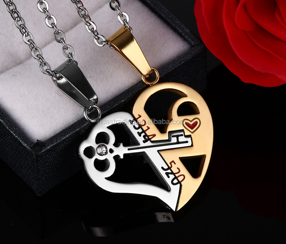 Key & Lock Necklace Pendant 1314520 Couple Lover Wedding Jewelry Women Men Necklace 2pcs / sets
