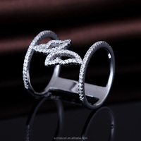 Sterling Silver Cubic Zirconia CZ Open Bar Butterfly Fashion Right Hand Ring
