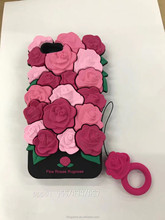 3D Flowers Silicon Cell Phone Case Rose Rubber Cover For Oppo R9S