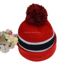 Men Cable Cuff Beanie Hat Women Pom Knit Winter Hat with hair ball