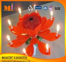 Unscented Eco-Friendly Sparkling Lotus Flower Birthday Candle