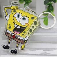 fancy carton printed acrylic photo frame keychain for promotional gifts