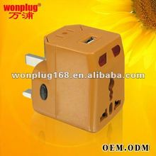 Christmas new hot item for 2012, latest design electronic gift travel adaptor with usb(WP-300A)