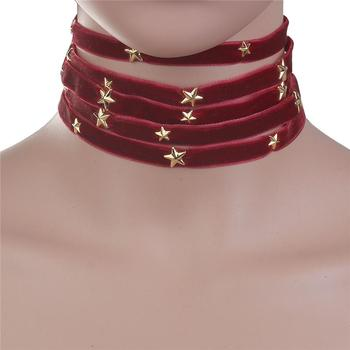 Velvet Choker Necklace Gold Plated Wine Red Pentagram Star Fashion Choker 2017