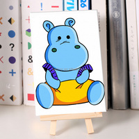 Hippo cartoon diy oil painting for stationery diy digital oil painting on canvas