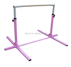 Pink painted height adjustable kids horizontal gymnastic bar produce with EN71 standard