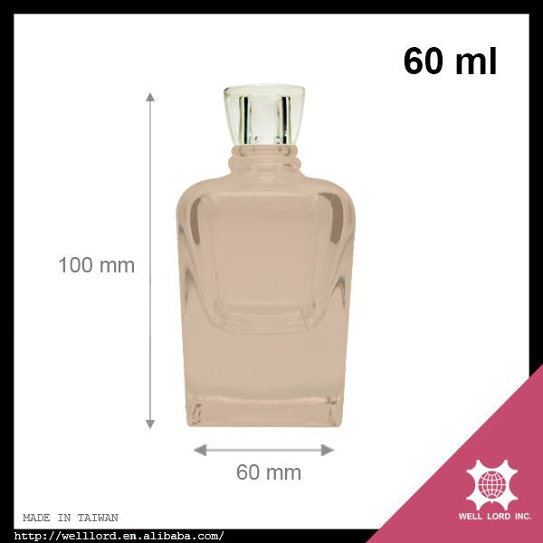 Classy posh 60 ml square pale rose perfume glass bottle