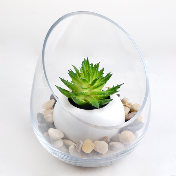 100% handmade hand cut crystal glass plant terrarium/glass vase
