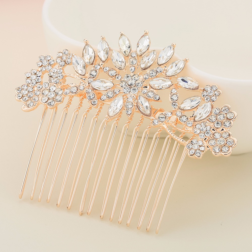 Handmade Flower Wedding Hair Combs with Rhinestone Crystal Bridal Hair Comb in Hair Jewelry