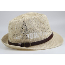 Wholesale cheap Mens Jazz fedora hat Tourism outdoor shading Hollow straw hat panama
