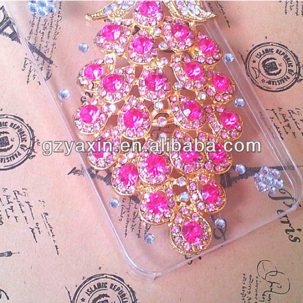 bling stone peacock design phone case for iphone 5,peacock rhinestone phone case for iphon 5 5s