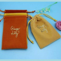 Excellent quality best selling jewelry velvet pouch with hot stamping