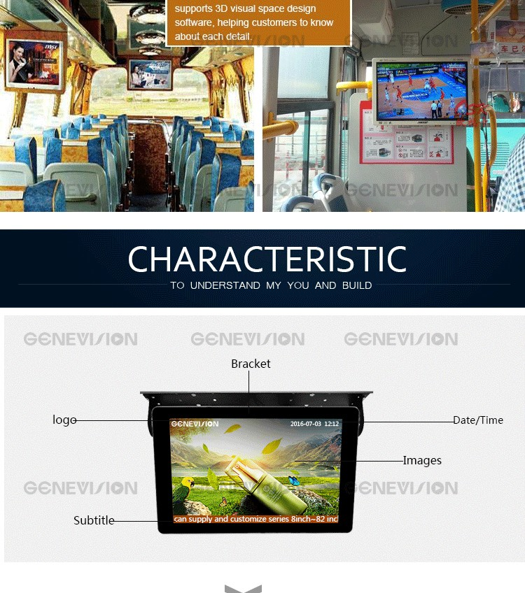 22 inch Roof Mounted Bus TV Monitor 24V Bus Advertising Player 6-36V (MBUS-220A)