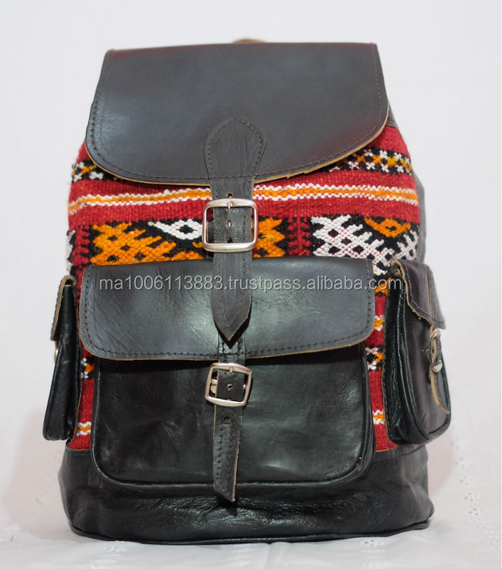 cheaper handcrafted natural genuine leather and carpet shoulder bag 2014 from morocco