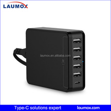 2016 new Quick Charger Type c 3.0 Technology USB Portable QC Charger 6-port TYPE-C adatpter