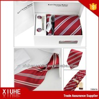 Polyester Mens Striped Red thai silk necktie