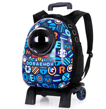 Astronaut Pet Cat Dog Puppy Carrier on Wheels Space Capsule Backpack for Travel