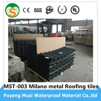 Roof glazing shingle sheets natural stone chip coated metal roof tiles