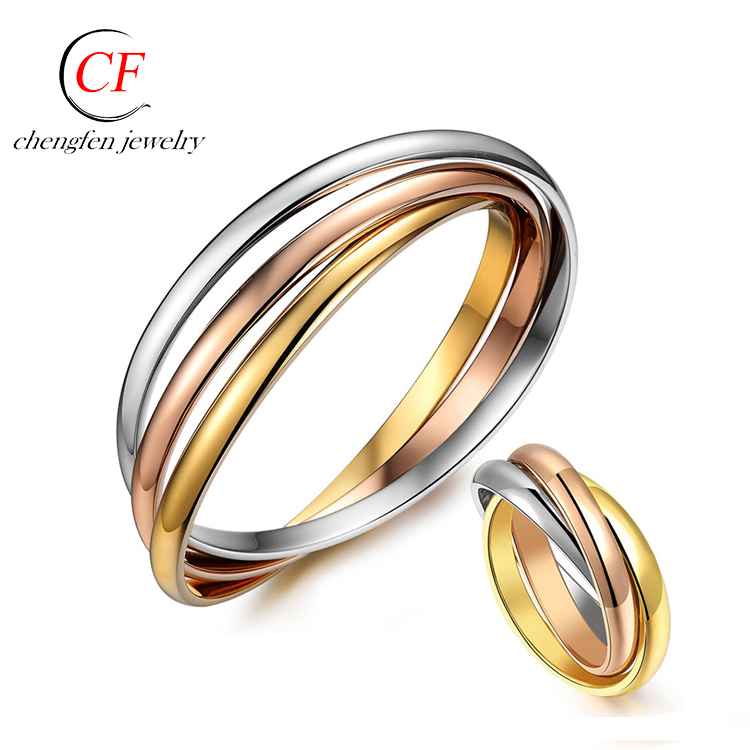 Custom Jewelry <strong>Ring</strong> Stainless Steel 3-circle <strong>Ring</strong> Tied 3 in one Fashion <strong>Ring</strong> For Men and Women Without Stones