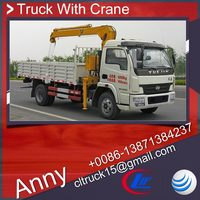 yuejin 5 tons folded boom truck mounted crane for sale,swing arm crane