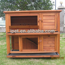 Two floor wooden Waterproof rabbit cage with tray RH047
