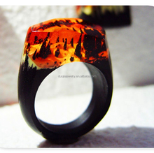 Forest sunset glow landscape Wooden ring wood jewelry resin ring