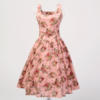 OEM supplier vintage style clothes 50s dress 60s rockabilly clothes woman prom dresses flower printed dancing dress