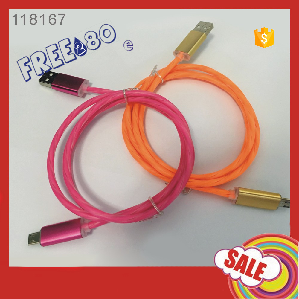 2016 EL light Wire Cable Colorful 3ft/ 1m PVC LED Light 2A Micro USB data Cable for Samsung/Huawei,etc