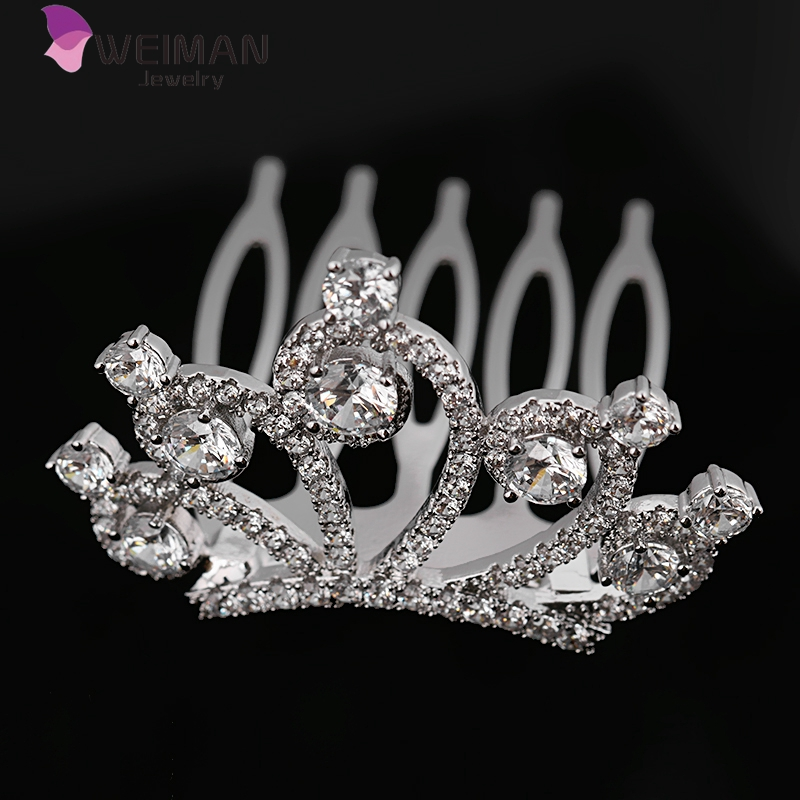 AAA cubic zirconia crown shaped wedding hair comb for Brides