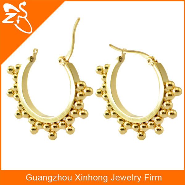 fashion colored 1 inch gold hoop earrings with gold ball