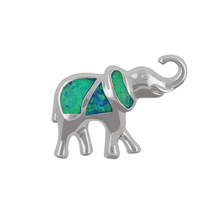 Animal Design Australian Blue opal Cubic Zirconia 925 Sterling silver elephant tooth pendant necklace jewelry