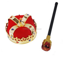 New arrival hot sale gold party crown luxury king crown with scepter