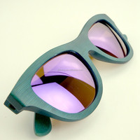 square bamboo UV400 sunglasses