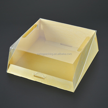Square golden Silver base Clear lid plastic box dome container cake box container