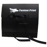black gift paper bag with logo print