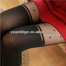 New Arrival High End Fashion Thin Sexy Heart Jacquard Beautiful Girl Pantyhose