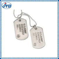 stainless reflective dog tag with ball chain