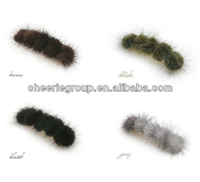 Luxury mink fur french barrette hair clips wholesale