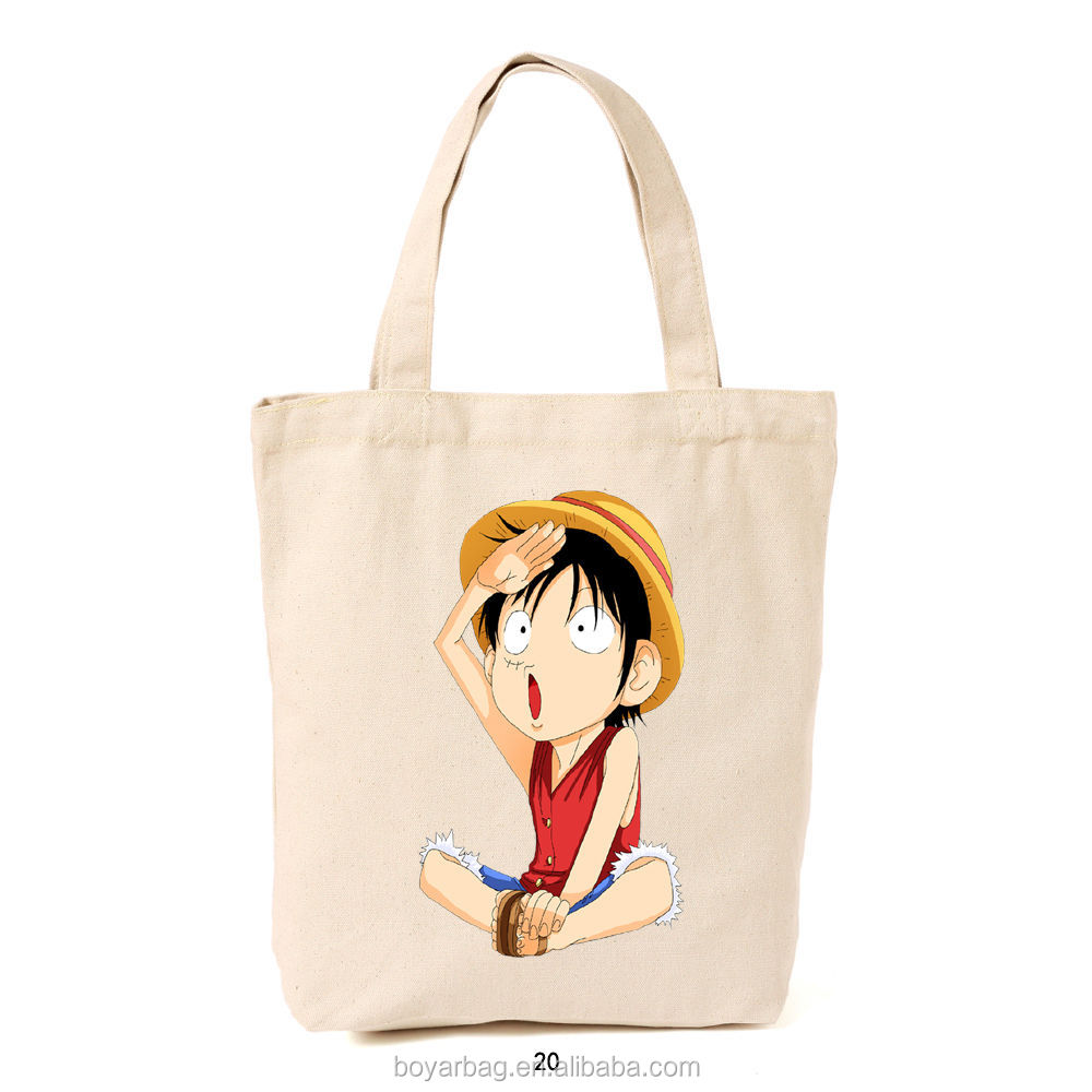 Alibaba cartoon character of Monkey D Luffy canvas tote bag for shopping.