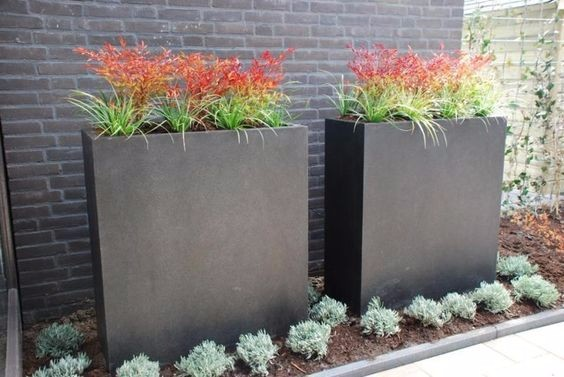 Tall narrow planters, set of 3 (fiberclay)