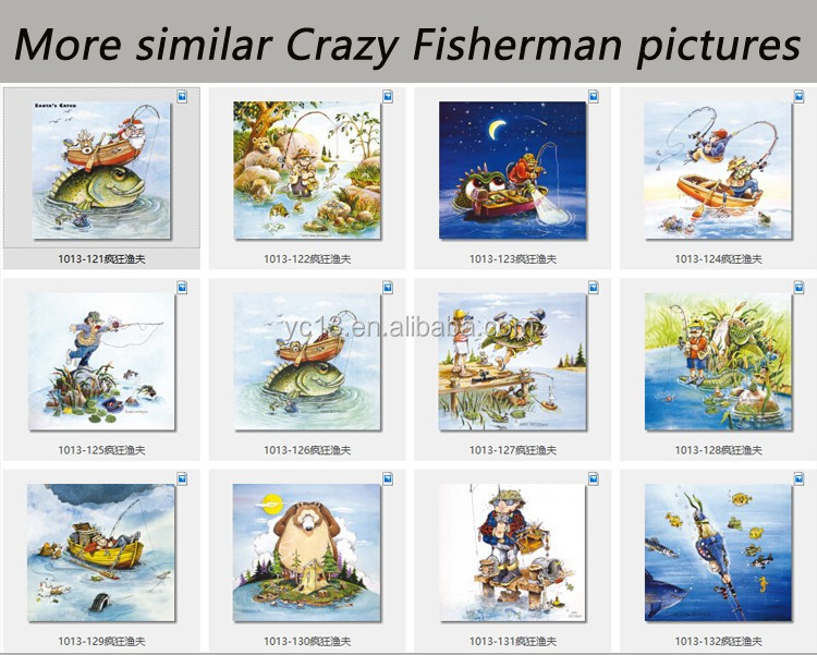 Alternatively ad decorative magnetic frame print magnetic painting Crazy Fisherman 1013-129