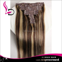 newest product ponytail double drawn top quality cheap 100% human hair clip in ombre hair extension