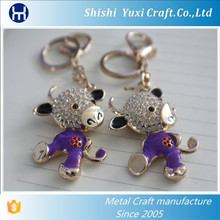 Crystal metal Chinese zodiac cute cow fashion key ring keyring animal key chain holder