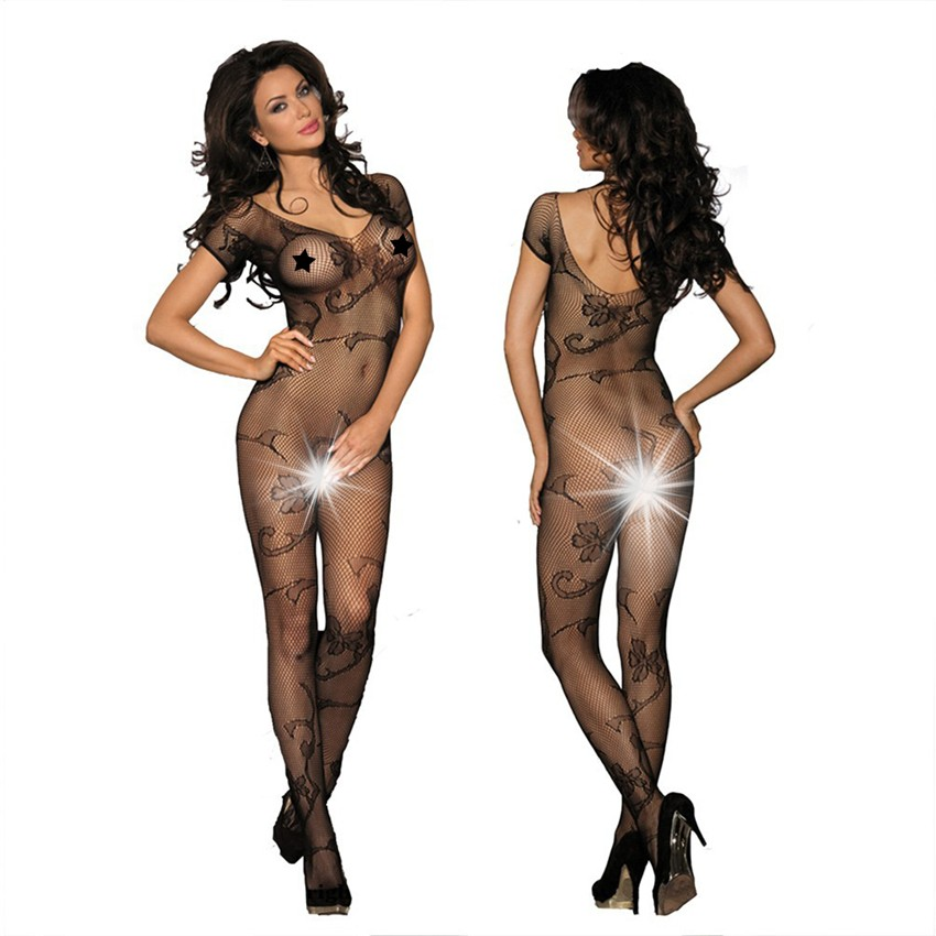 Beautyslove lingerie floral fishnet sexy bodysuit women open crotch bodystocking