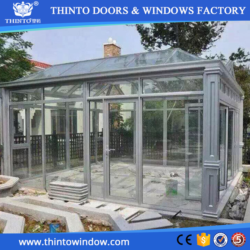 Fashion style construction single /double /triple glazing balcony clear roof glass sunroom design